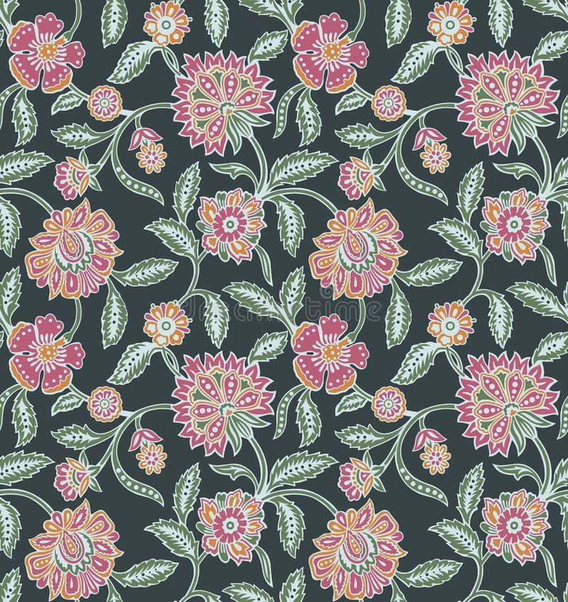 Modèle de fleur floral de cru sans couture illustration stock