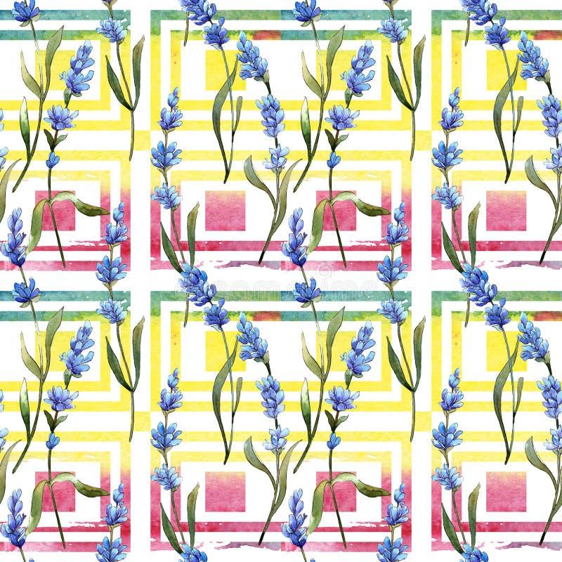 Modèle de fleur de lavande de Wildflower dans un style d'aquarelle illustration stock