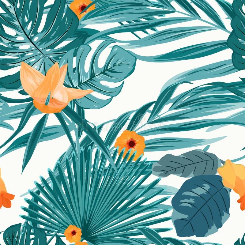 Modèle de fleur orange de verdure tropicale de fougère illustration libre de droits