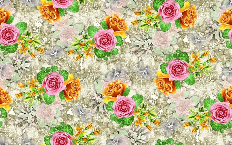 Modèle de fleur rose d'aquarelle illustration stock