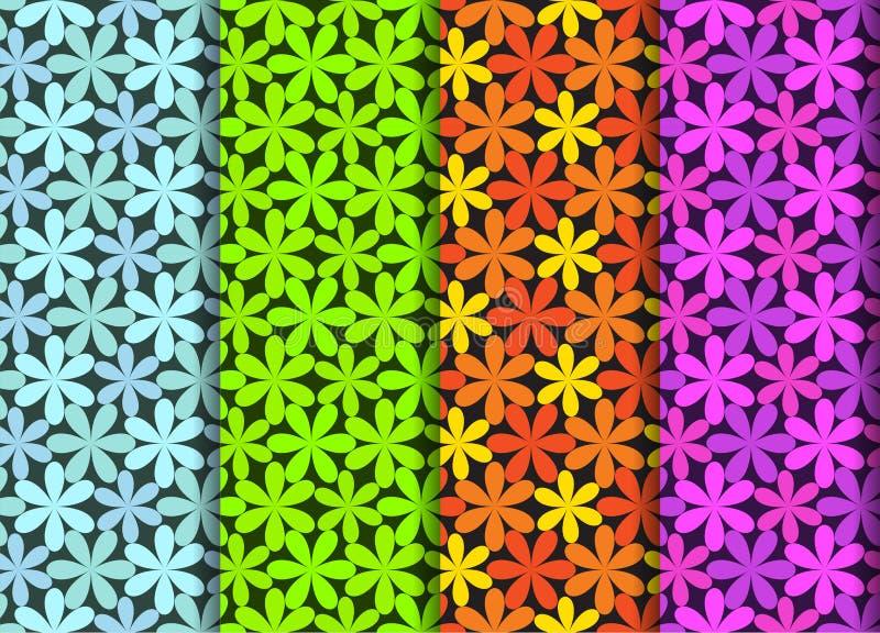 Modèle de fleur sans couture dans quatre la couleur, art de vecteur illustration de vecteur