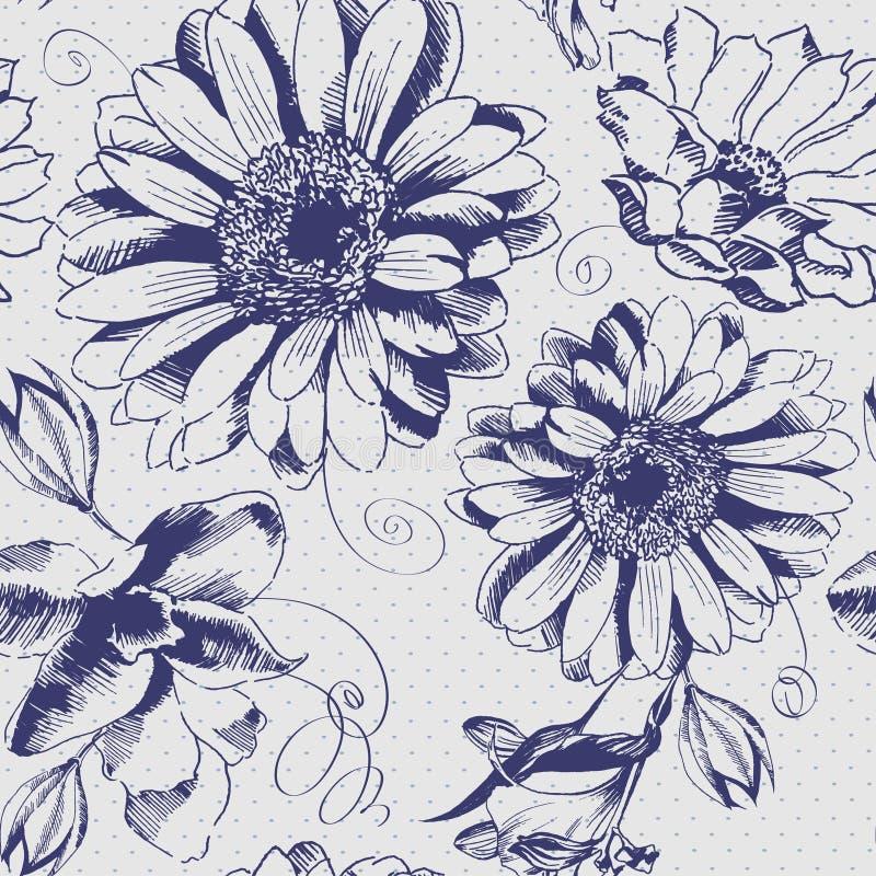 Modèle de fleur tiré par la main de vintage illustration stock