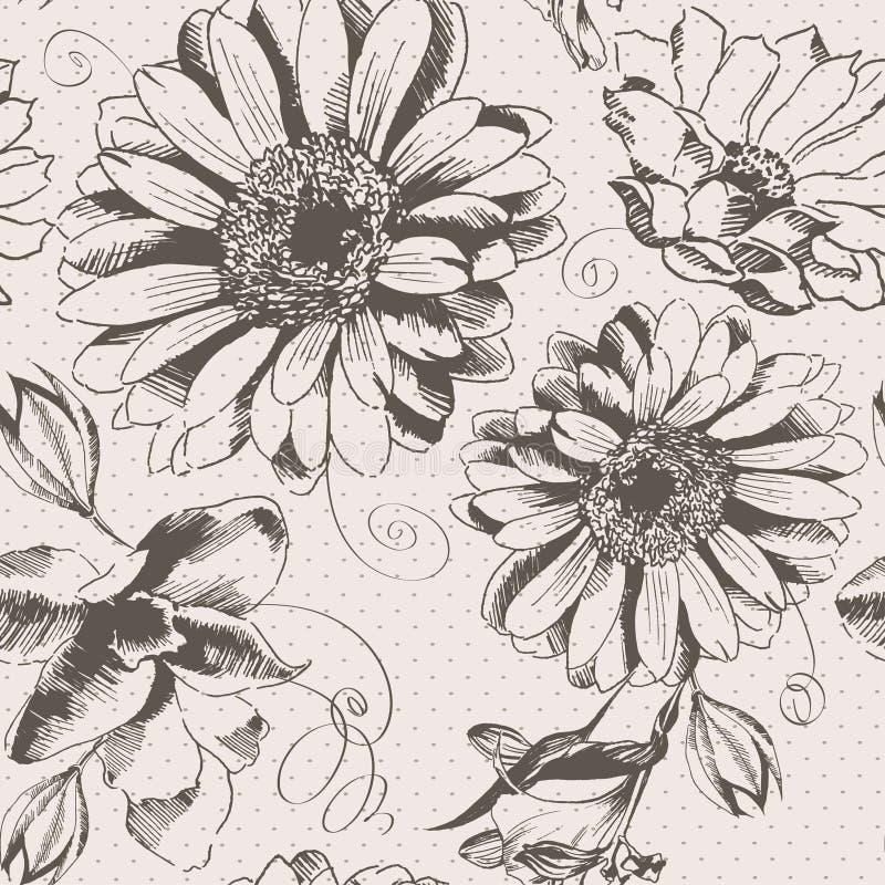 Modèle de fleur tiré par la main de vintage illustration libre de droits