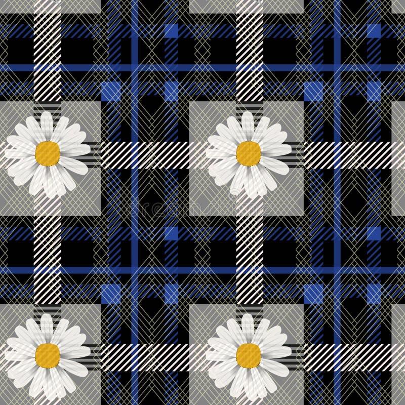 Modèle de fleurs bleu de plaid et de marguerite de tartan sur le fond à carreaux pour le textile eps10 illustration stock