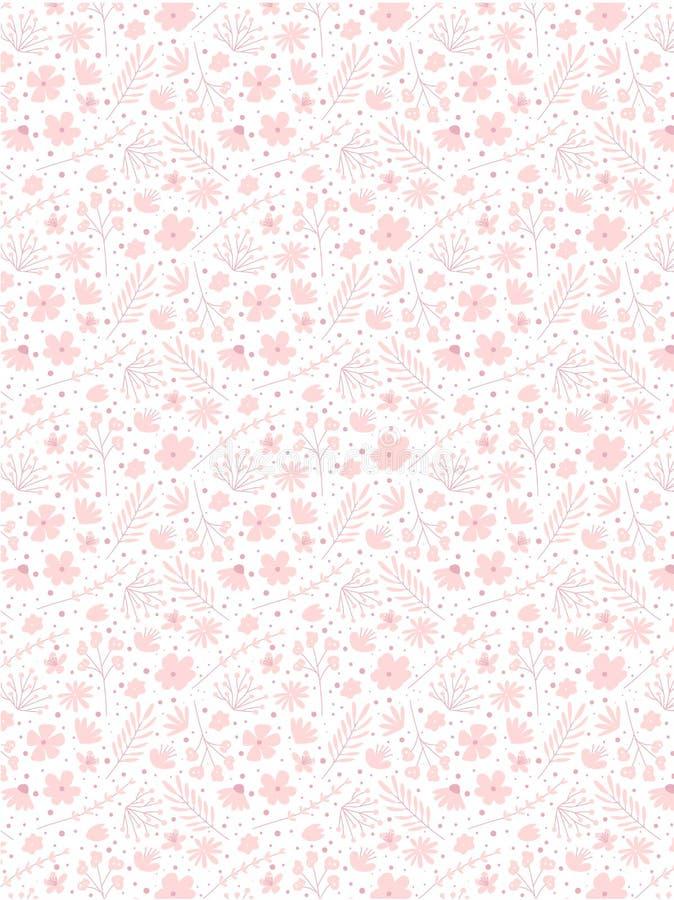 Modèle de fleurs de griffonnage pour le tissu Fond rose de fille illustration de vecteur
