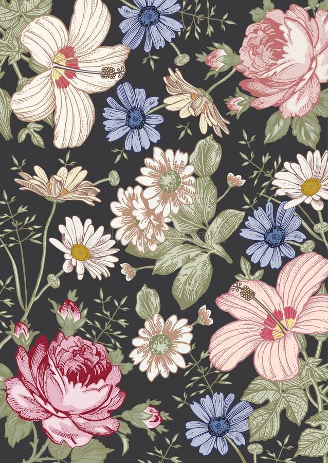 Modèle de fleurs réaliste de victorian Fond de cru Mauve de ketmie de Rose de camomille wallpaper Gravure de dessin illustration stock