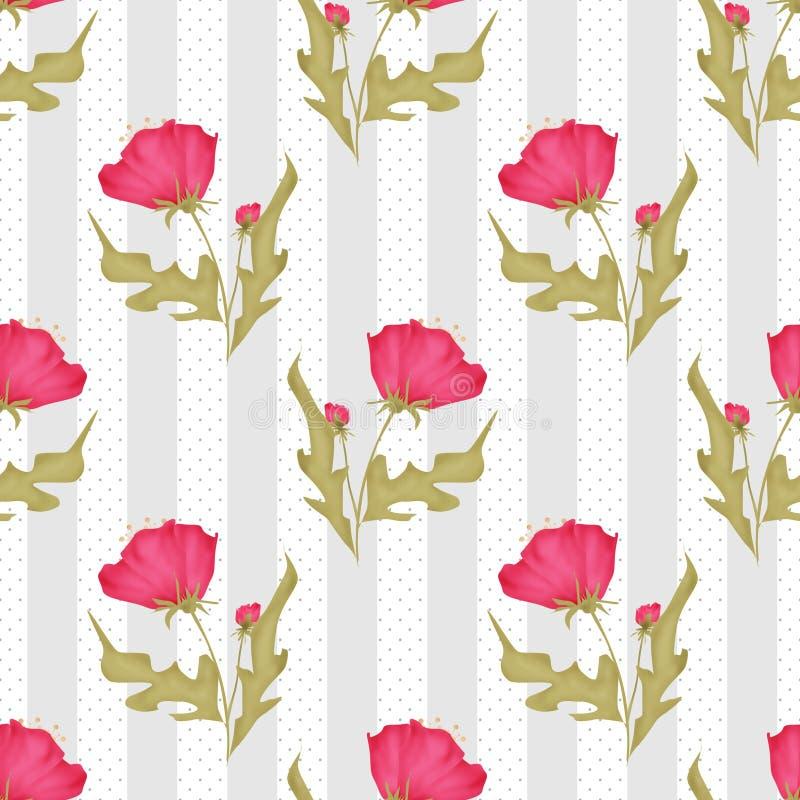 Modèle de fleurs rose sans couture sur le point de polka barré illustration de vecteur