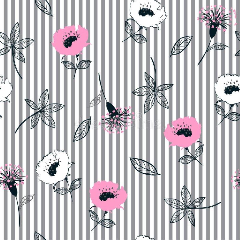Modèle de fleurs sans couture à la mode de jardin sur la rayure grise et blanche illustration libre de droits