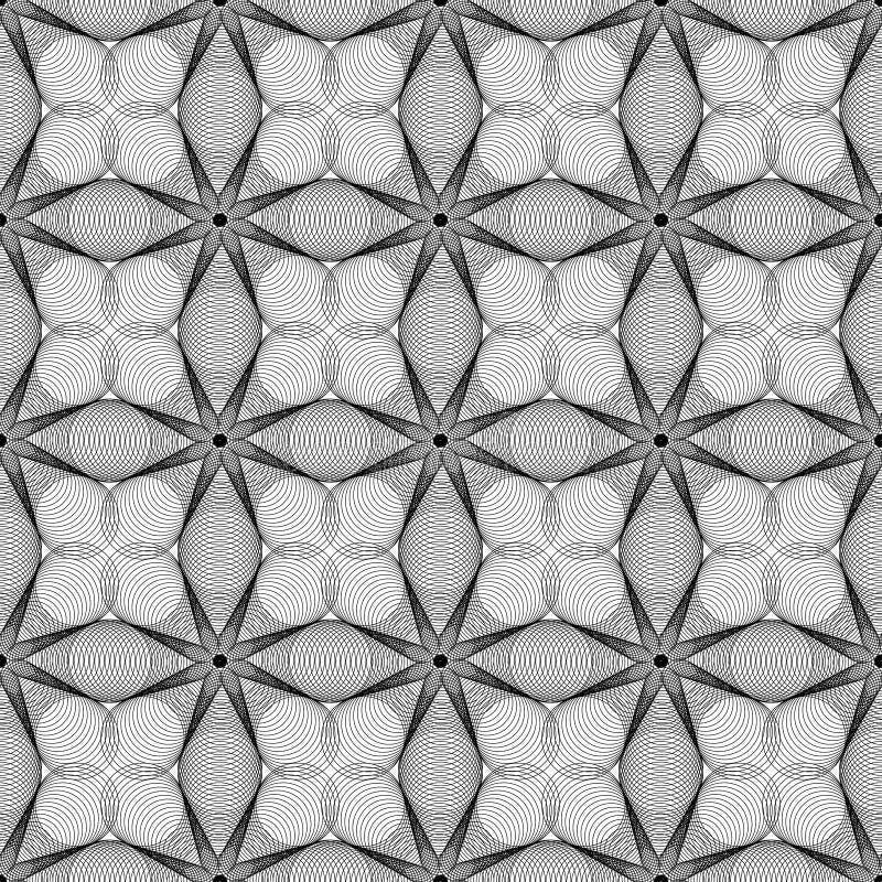 Modèle de fleurs sans couture de Spirograph de répétition illustration de vecteur