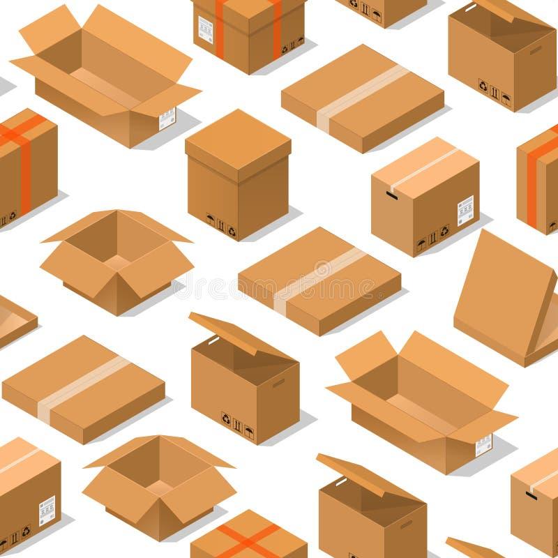 Modèle de fond de boîtes en carton sur une vue isométrique blanche Vecteur illustration stock