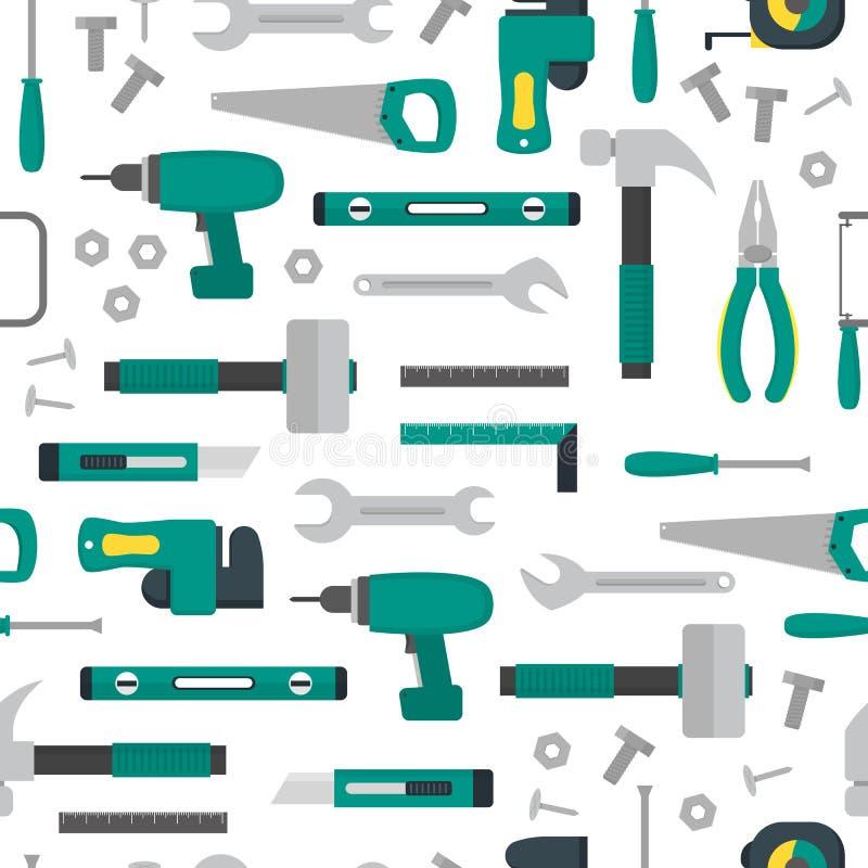 Modèle de fond d'outils de bricolage de bande dessinée sur un blanc Vecteur illustration de vecteur