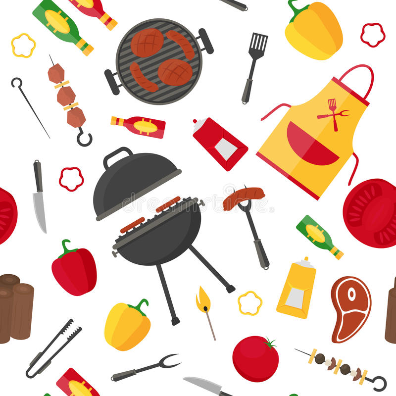 Modèle de fond de barbecue et de gril Vecteur illustration libre de droits