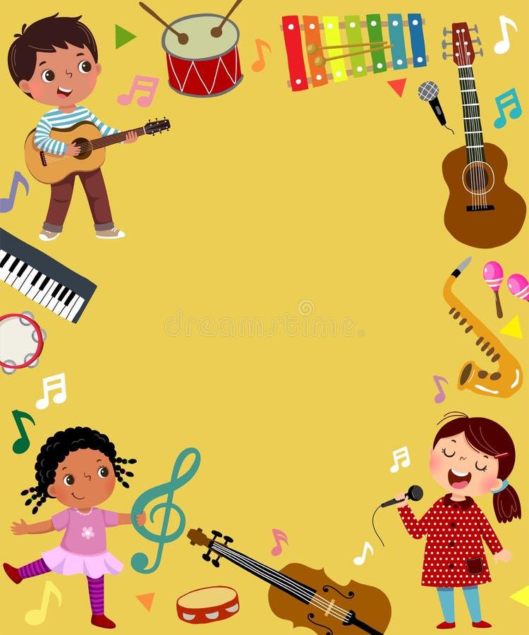 Modèle de fond publicitaire dans le concept de musique avec trois musiciens enfants illustration libre de droits