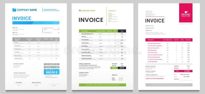Modèle de formulaire de facture commerciale Facturation de devis, de factures de billets ou de prix et modèles de conception d'ac illustration libre de droits