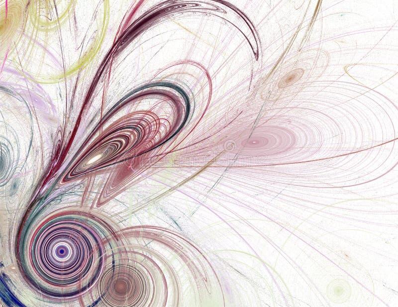 Modèle de fractale avec des plumes, des cercles et des spirales illustration de vecteur