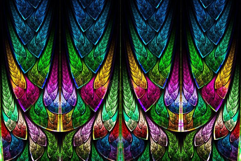 Modèle de fractale dans le style en verre souillé. illustration stock