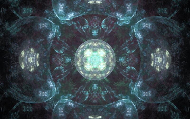 Modèle de fractale de fond d'image des boules bleues translucides avec un modèle à l'arrière-plan illustration stock