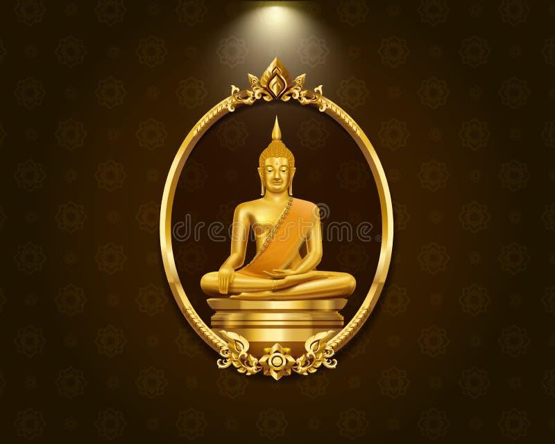 Modèle de frontière de cadre d'art et statue thaïlandais de Bouddha illustration stock