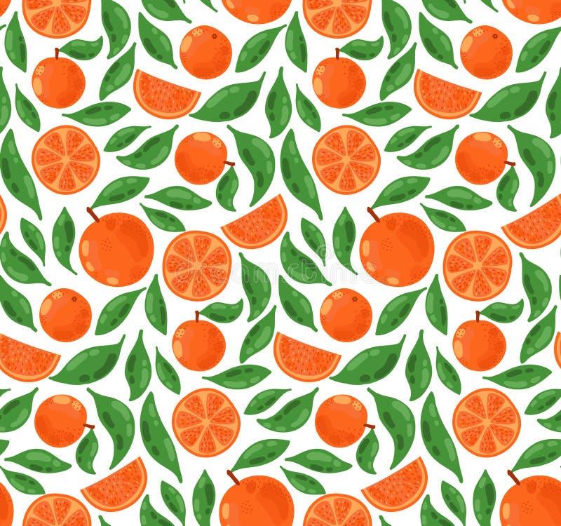 Modèle de fruits et de feuilles d'oranges illustration de vecteur