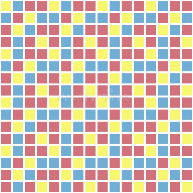Modèle de grille carré de vecteur coloré Texture sans joint illustration stock