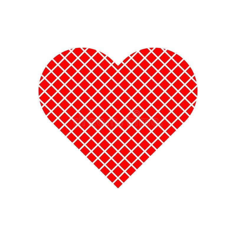 Modèle de grille dans le logo rouge de coeur illustration libre de droits