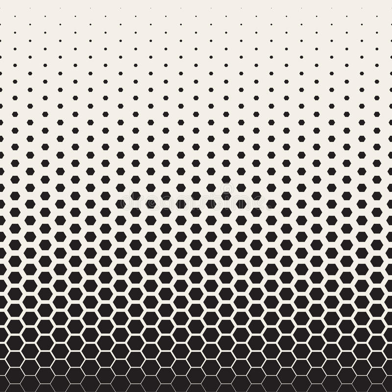 Modèle de grille hexagonal tramé de transition noire et blanche sans couture de vecteur illustration de vecteur