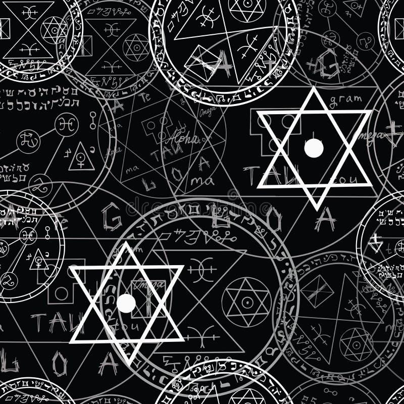 Modèle de Halloween avec des symboles magiques illustration de vecteur