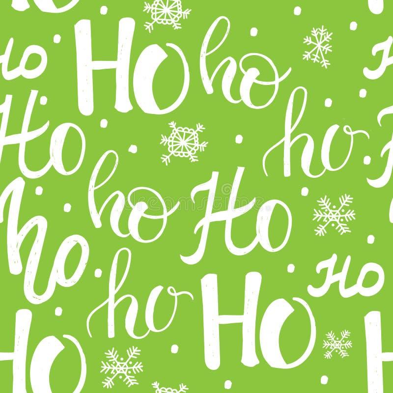 Modèle de Hohoho, rire de Santa Claus Texture sans couture pour la conception de Noël Fond vert de vecteur avec des mots manuscri illustration libre de droits