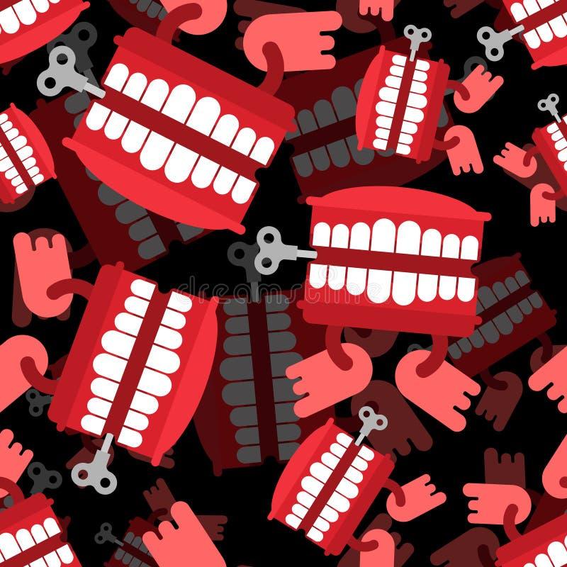 Modèle de jouet de dents de broutement sans couture Ornement d'April Fools Day Ja illustration libre de droits