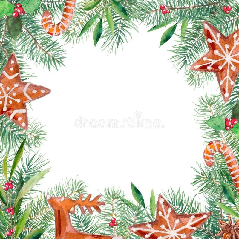 Modèle de Joyeux Noël, pain d'épice, sapin, olive, frontière de houx Cadre tiré par la main d'illustration d'aquarelle illustration libre de droits