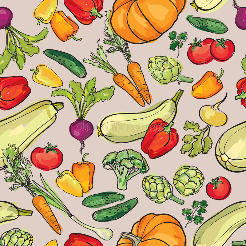 Modèle de légumes Fond sans couture d'ingrédients de nourriture illustration de vecteur