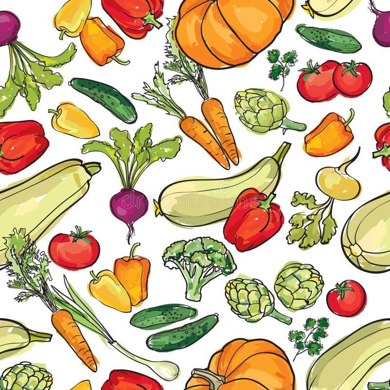 Modèle de légumes Fond sans couture de récolte de jardin illustration stock