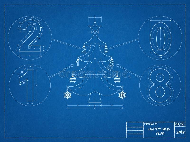 Modèle de l'arbre de Noël 2018 photo stock