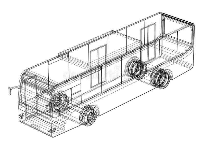 Modèle de l'autobus 3D - d'isolement illustration stock