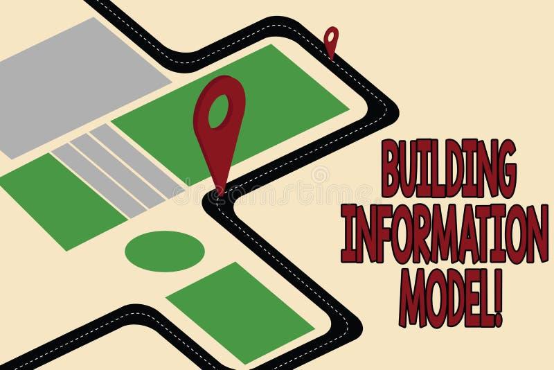 Modèle de l'information de bâtiment des textes d'écriture Représentation de Digital de signification de concept de carte de route illustration libre de droits