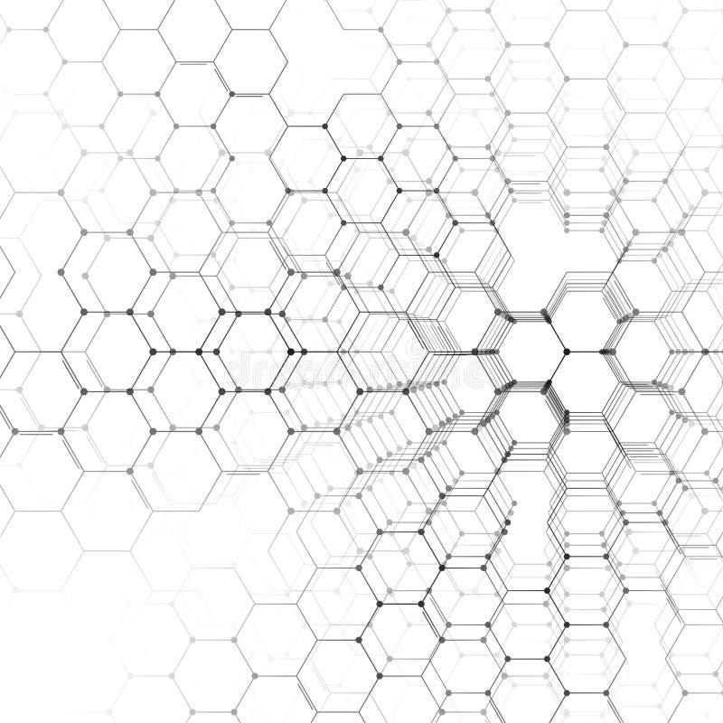 Modèle de la chimie 3D, structure hexagonale de molécule sur le blanc, recherche médicale scientifique Médecine, la science et illustration libre de droits