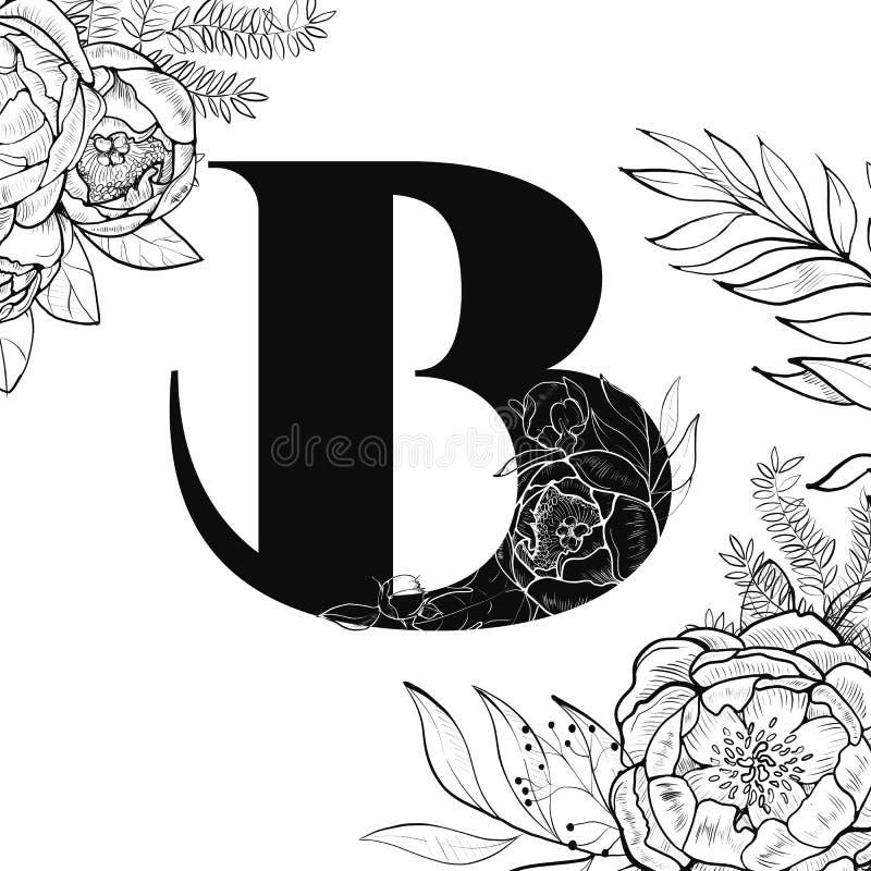 Modèle de la lettre B d'alphabet de fleur illustration libre de droits
