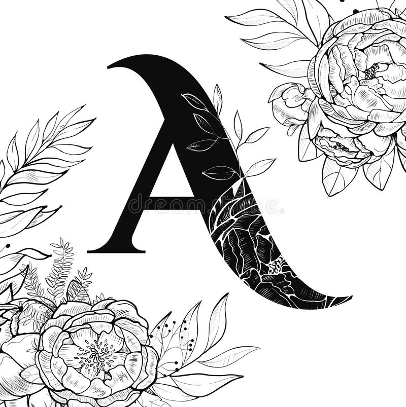 Modèle de la lettre A d'alphabet de fleur illustration libre de droits