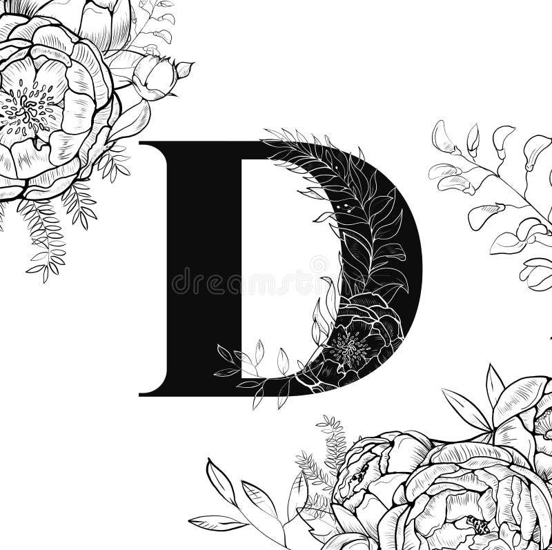 Modèle de la lettre D d'alphabet de fleur illustration libre de droits