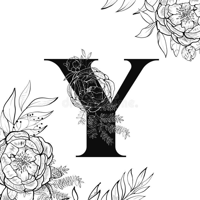 Modèle de la lettre Y d'alphabet de fleur illustration libre de droits