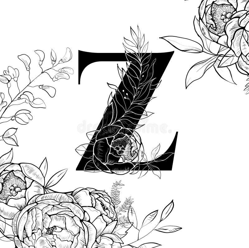 Modèle de la lettre Z d'alphabet de fleur illustration de vecteur