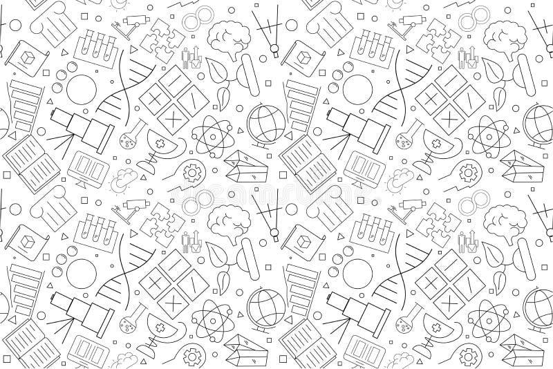 Modèle de la Science de vecteur Fond sans couture de la Science illustration stock
