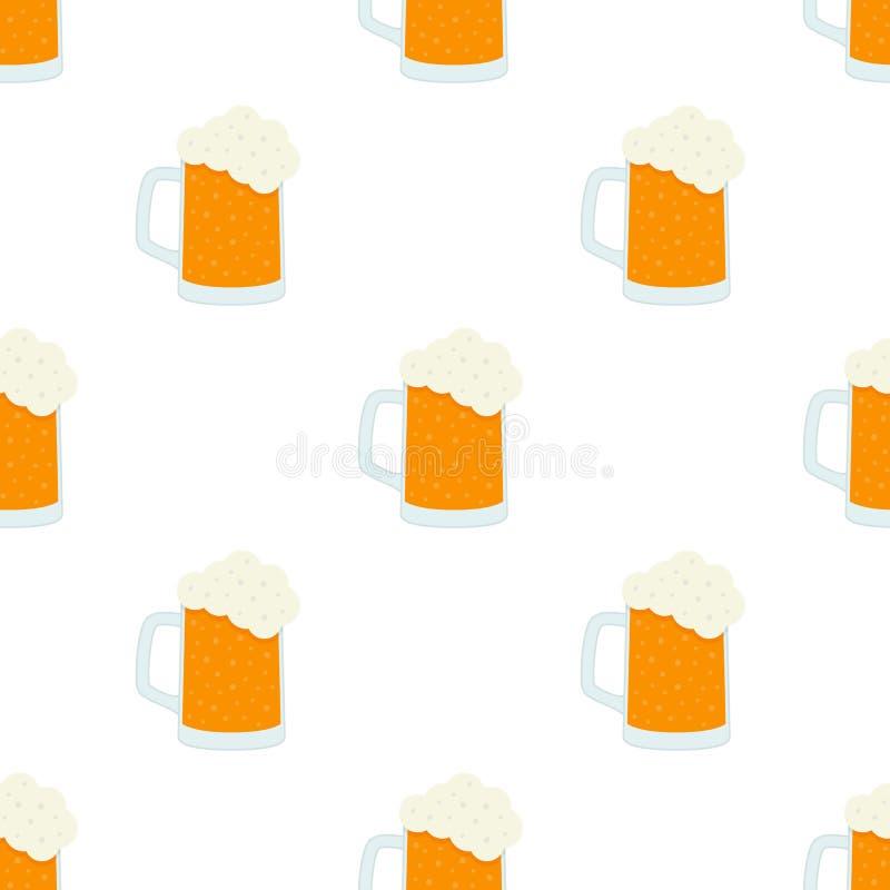 Modèle de Lager Beer Glass Icon Seamless illustration libre de droits