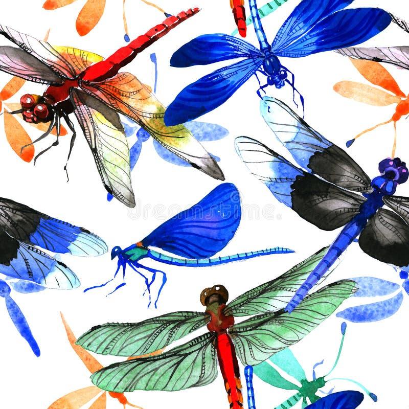 Modèle de libellule d'insecte dans un style d'aquarelle d'isolement illustration libre de droits