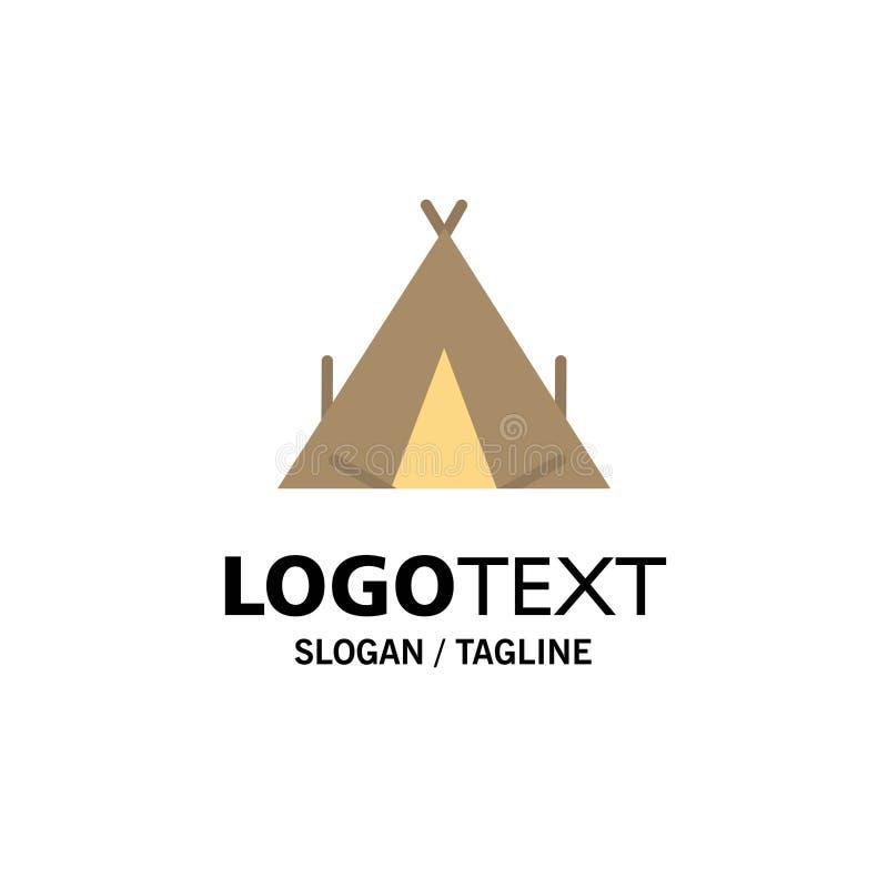 Modèle de logo de l'entreprise Camp, Tent, Wigwam, Spring Couleur plat illustration de vecteur
