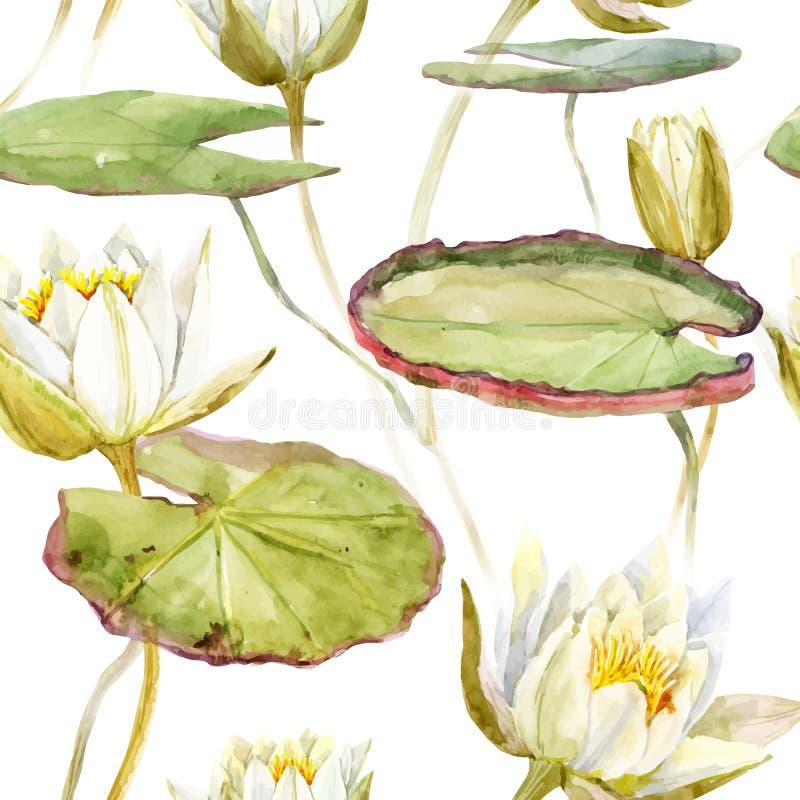 Modèle de lotus d'aquarelle illustration de vecteur