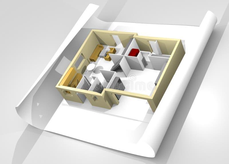 Modèle de maison sur une partie de papier. illustration de vecteur