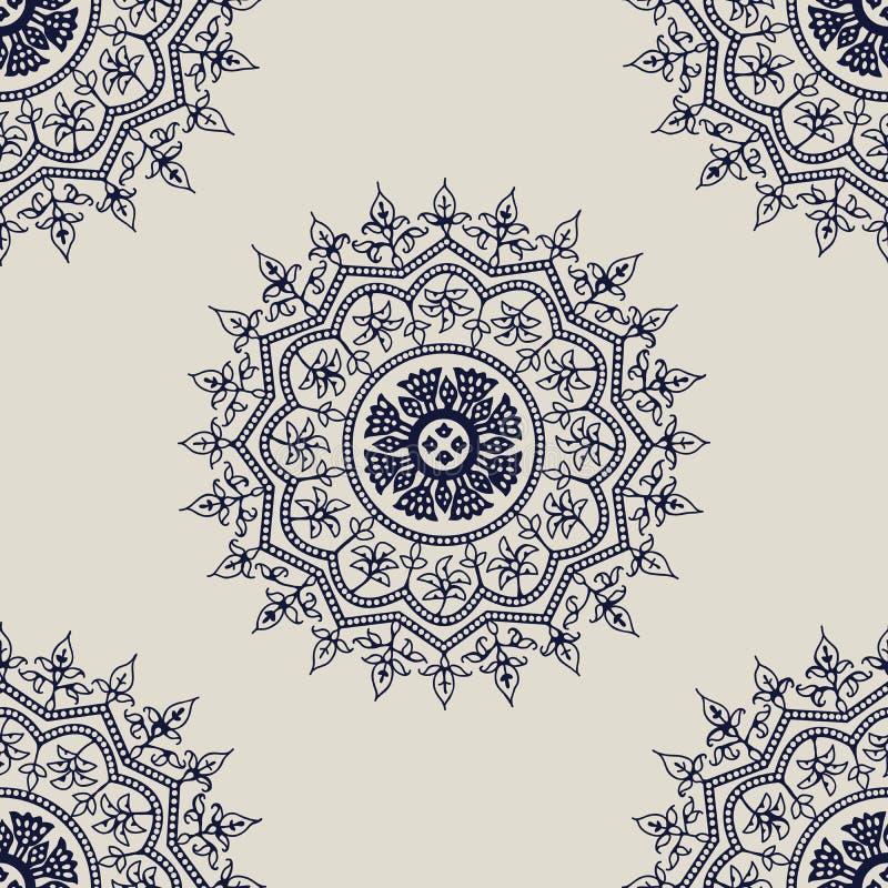 Modèle de mandala de blockprint du Cachemire illustration stock