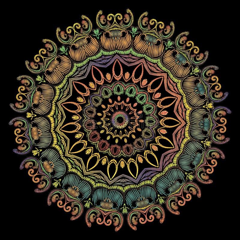 Modèle de mandala de broderie de Paisley Ornement rond floral de tapisserie color?e de vecteur Texture grunge Fleurs brodées de P illustration libre de droits