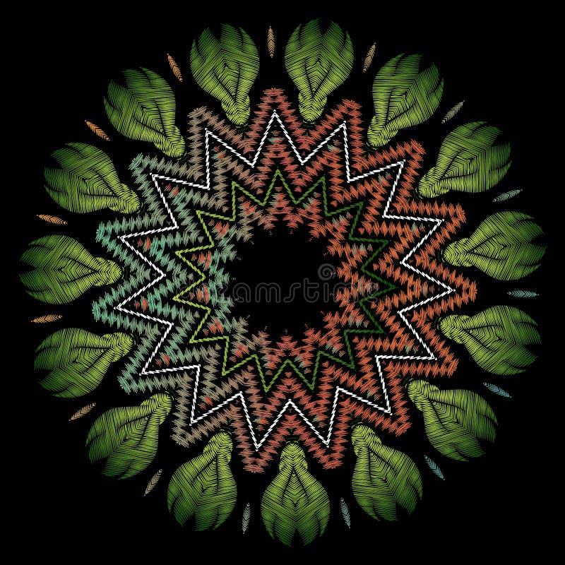 Modèle de mandala de broderie de zigzag Ornement rond floral de tapisserie fleurie de vecteur Texture grunge Fleurs brod?es, feui illustration de vecteur